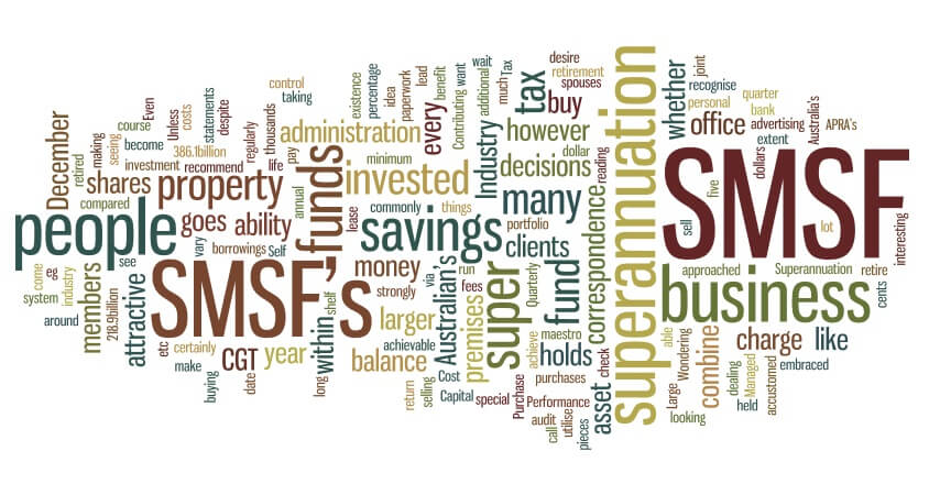 Self managed superannuation fund graphic showing various works relating to SMSF.